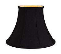 BR 001132 Black Bell Shantung Lampshade With Gold Lining And Piping