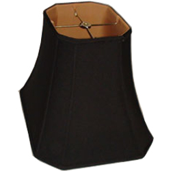 Rectangle Cut Corner Black Silk Shantung Lampshade with gold fabric lining