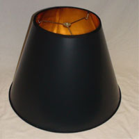 Black Parchment Empire Lampshade with Gold Foil Lining
