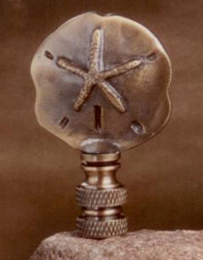 Mini Sand Dollar Lamp Finial in Antique Brass