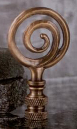 Whirlpool Lamp Finial in Antique Brass
