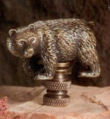 Walking Bear Lamp Finial in Antique Metal