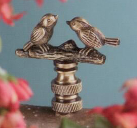 Songbirds Lamp Finial in Antique Metal