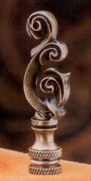 Scroll Lamp Finial in Antique Metal