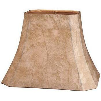 Rectangle Cut Corner Faux Leather Lampshades with Gold Lining