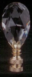 Large Teardrop Lamp Finial in Crystal