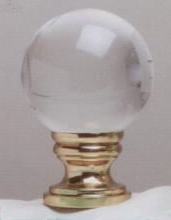 Crystal Ball 40mm Lamp Finial in Polished Brass