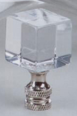 Polished 1 Cube Lamp Finial in Brushed Nickel Base