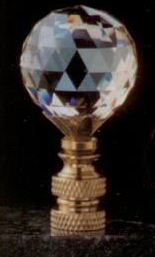 Faceted Champagne Ball 30mm Lamp Finial in Crystal
