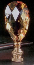 Topaz Teardrop Lamp Finial in Crystal