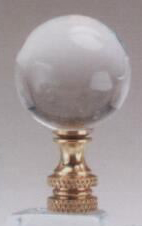 Polished Ball 30mm Lamp Finial in Acrylic Brass Base