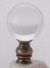 Polished Ball  30mm Lamp Finial in Acrylic Antique Metal Base