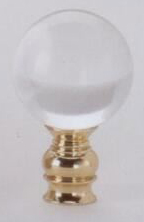 Polished Ball 30mm Lamp Finial in Acrylic Polished Brass Base