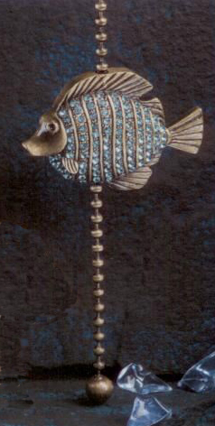 Antique Metal Tropical Fish Aegean Blue Glass Fan Pull Chain
