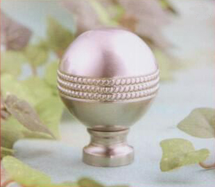 Beaded Sphere Lamp Finial in Brushed Nickel