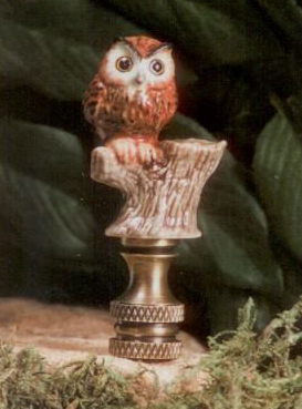 Owl on Branch Lamp Finial in Porcelain & Ceramic Finial