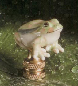Green Frog Lamp Finial in Porcelain & Ceramic Finial
