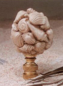 Seashell Cluster Lamp Finial in Antique Ivory Resin Finial