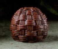 Rattan Ball Lamp Finial in Mahogany Resin Finial