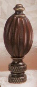 Walnut Flute Lamp Finial in Wood Finial