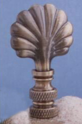 Mini Shell Lamp Finial in Antique Brass