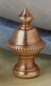 Beaded Knob Lamp Finial in Antique Brass