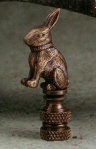 Rabbit Lamp Finial in Antique Metal
