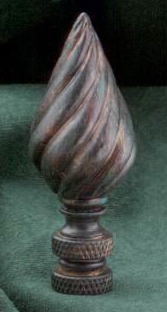 Twisted Cone Lamp Finial in Antique Bronze
