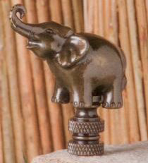 Elephant Lamp Finial in Antique Metal