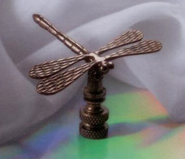 Dragonfly Lamp Finial in Antique Metal