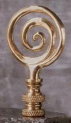 Whirlpool Lamp Finial in Polished Brass