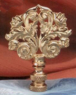 Classic Scroll Lamp Finial in Polished Brass