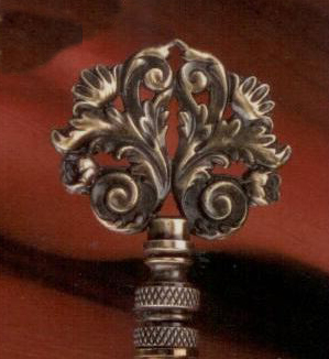 Classic Scroll Lamp Finial in Antique Brass