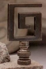 Greek Key Lamp Finial in Antique Metal