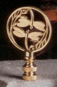Double Dragonfly Lamp Finial in Polished Brass