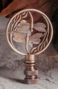 Double Dragonfly Lamp Finial in Antique Brass