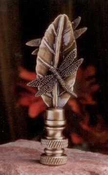 Dragonfly on Leaf Lamp Finial in Antique Metal