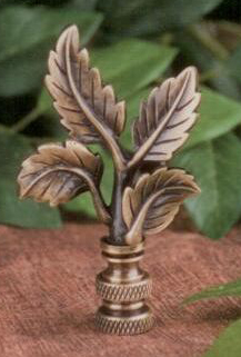 Leaves Lamp Finial in Antique Metal