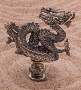 Dragon Lamp Finial in Antique Metal