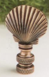 Mini Scallop Shell Lamp Finial in Antique Metal