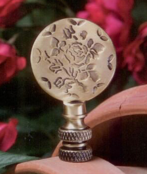 Embossed Floral Lamp Finial in Antique Metal