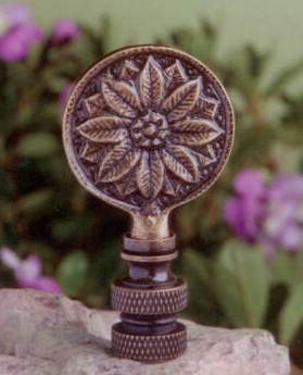Carved Flower Lamp Finial in Antique Metal