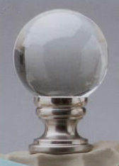 Crystal Ball 20mm Lamp Finial in Brushed Nickel