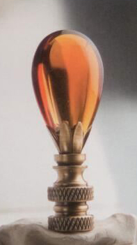 Amber Teardrop Lamp Finial in Glass