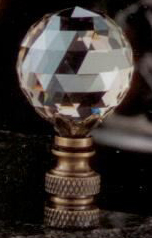 Faceted Champagne Ball 30mm Lamp Finial in Crystal Glass