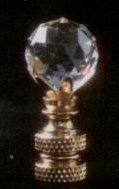 Faceted Ball 20mm Lamp Finial in Crystal