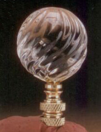 Ball 40mm Lamp Finial in Clear Glass Swirl