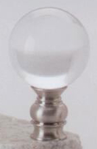 Polished Brass 30mm Lamp Finial in Acrylic Brushed Nickel Base