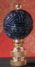 Cinnabar Navy Ball Lamp Finial