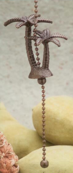 Antique Metal Palm Trees Fan Pull Chain